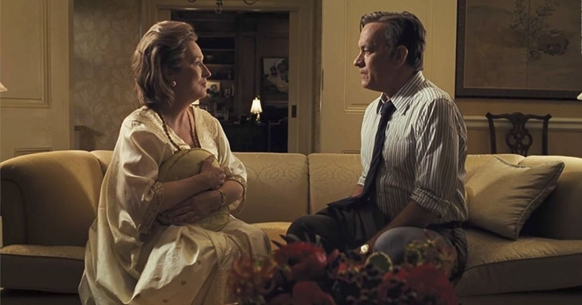 Tom Hanks and Meryl Streep in a still from <i>The Post</i>.