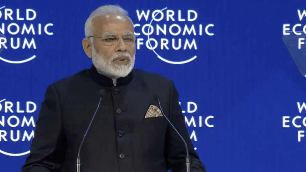 PM Narendra Modi addresses opening plenary at Davos.