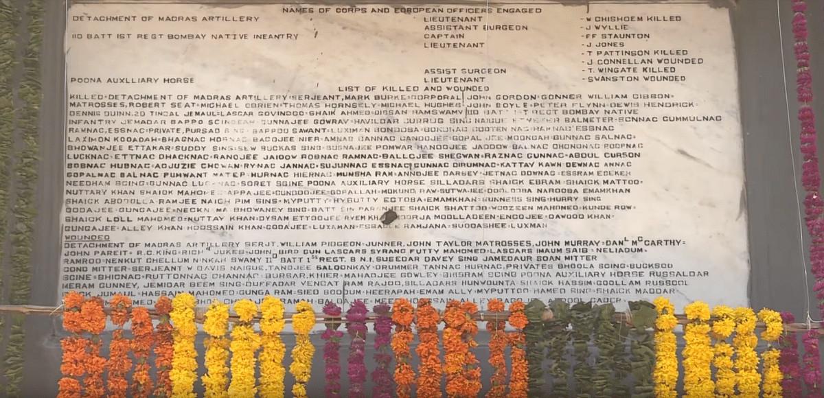 Names of soldiers who were injured and martyred at the battle of Bhima Koregaon.