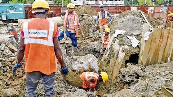 Workers found a live bomb at a Metro III construction site in Mumbai.