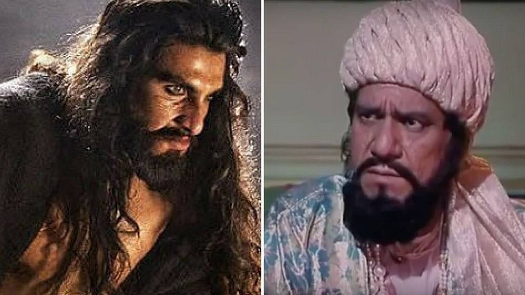 Ranveer Singh as Khilji and Om Puri as the same character in <i>Padmaavat</i> and <i>Bharat Ek Khoj</i> respectively.