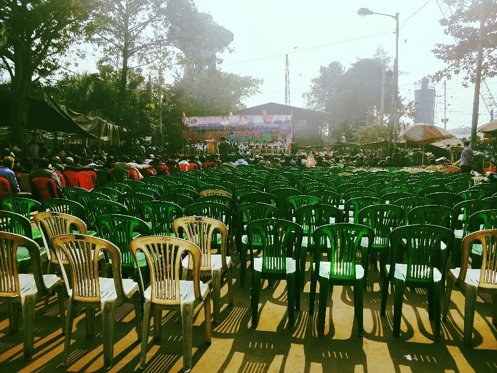 Empty chairs at the BJP's minority rally.