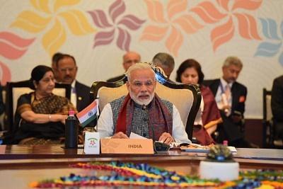 New Delhi: Prime Minister Narendra Modi addresses at the ASEAN-INDIA Commemorative Summit in New Delhi on Jan 25, 2018. (Photo: IANS/PIB)