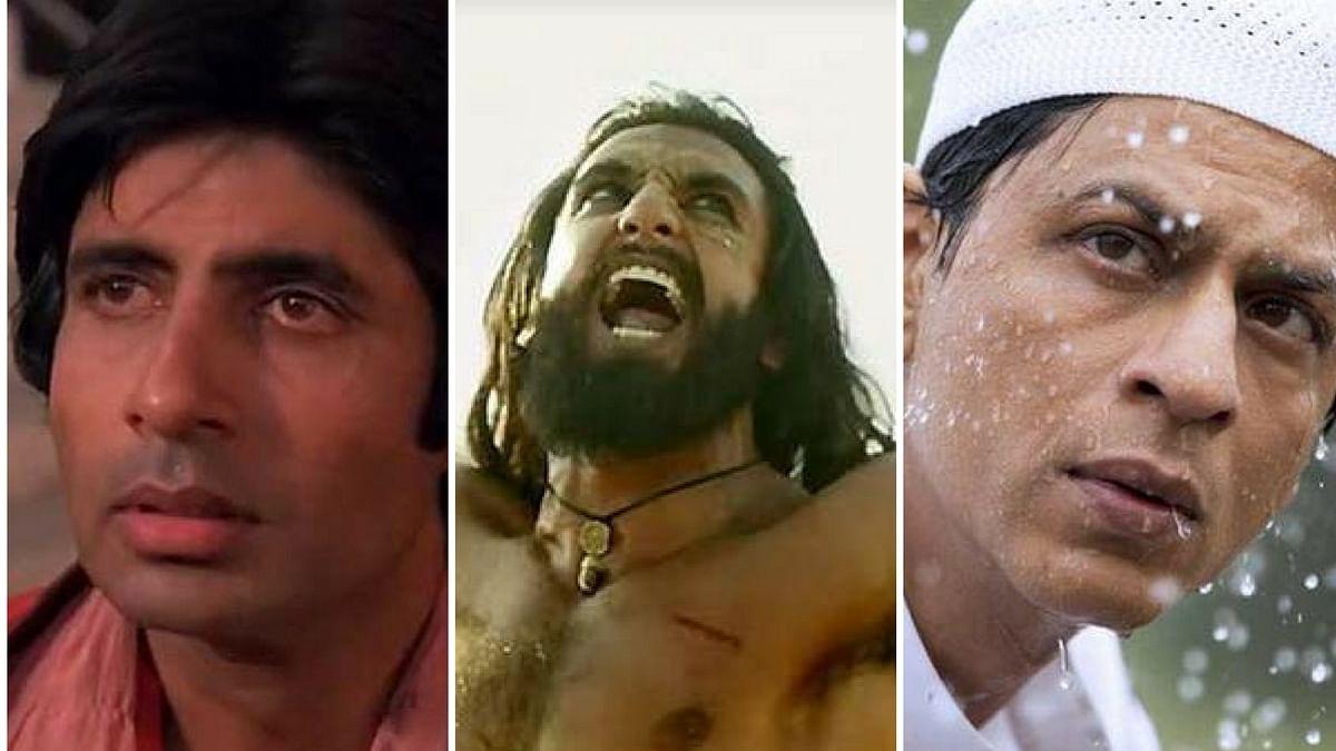 Amitabh Bachchan in <i>Coolie, </i>Ranveer Singh in<i> Padmaavat and </i>SRK in <i>My Name Is Khan.</i>