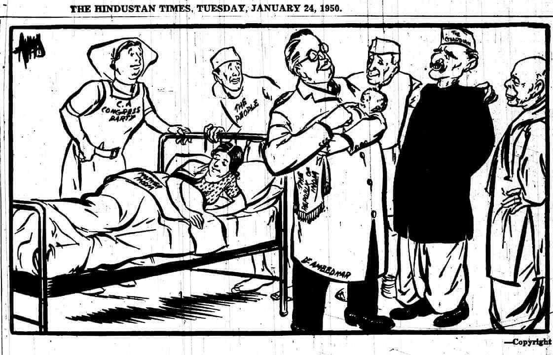 A cartoon from <i>HT</i> published on 24 January showing Chairman of the Drafting Committee (and later Law Minister) B R Ambedkar holding an infant Republic of India while Mother India lays in bed exhausted from labour. Around him stand Dr Rajendra Prasad and Nehru, looking anxiously.&nbsp;