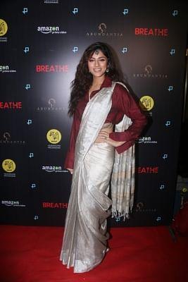"""Mumbai: Actress Sapna Pabbi at the special screening of her upcoming web series """"Breathe"""" in Mumbai on Jan 23, 2018.(Photo: IANS)"""