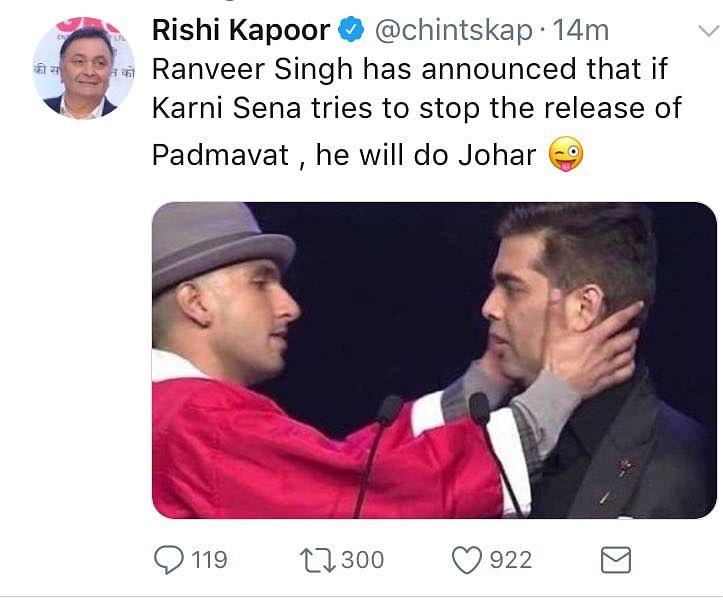 Rishi Kapoor tweets then deletes about Ranveer Singh, Karan Johar and <i>Padmaavat</i>.