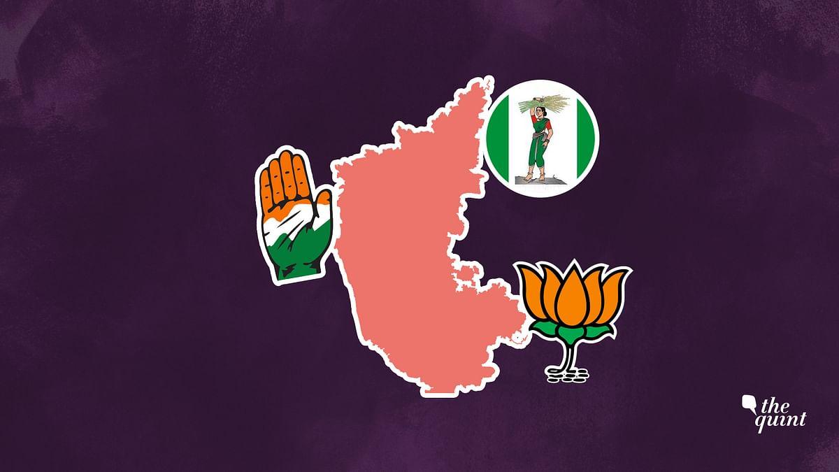 Image of Karnataka's map and symbols of its three major parties – BJP, Congress, JDS, used for representational purposes.