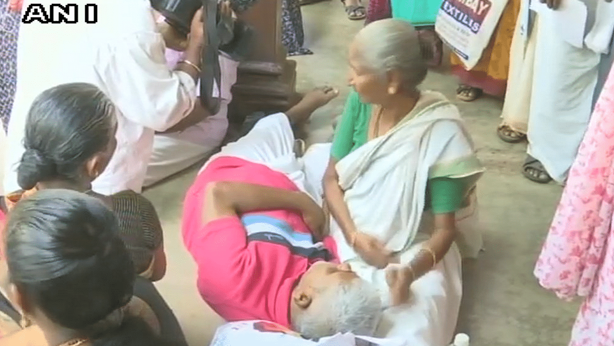 Patients wait outside a hospital in Thiruvananthapuram as doctor's strike for an hour.