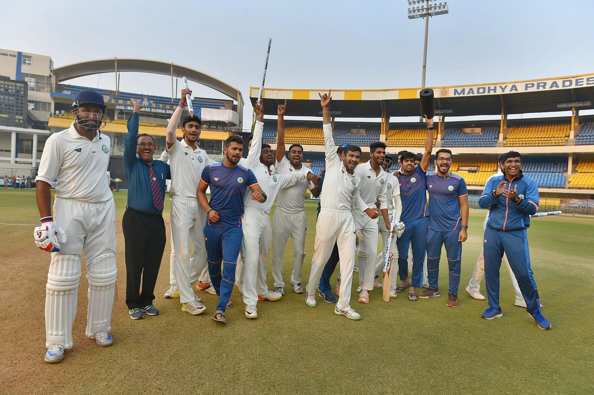 Vidarbha players after their win in the finals.