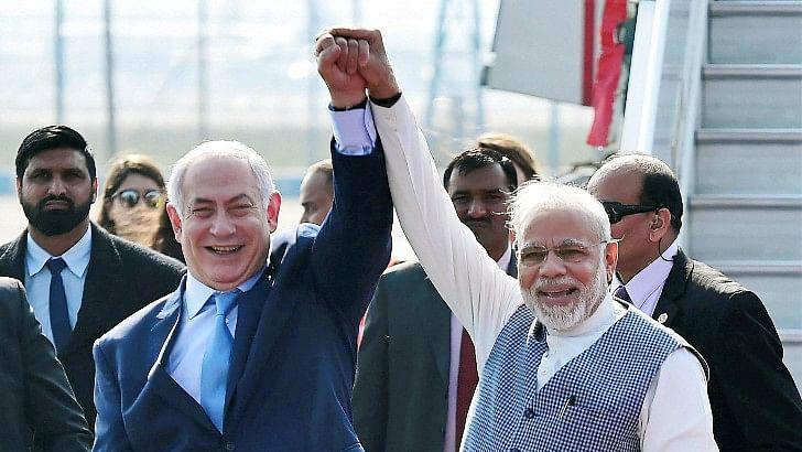 Prime Minister Narendra Modi with Israeli counterpart Benjamin Netanyahu.