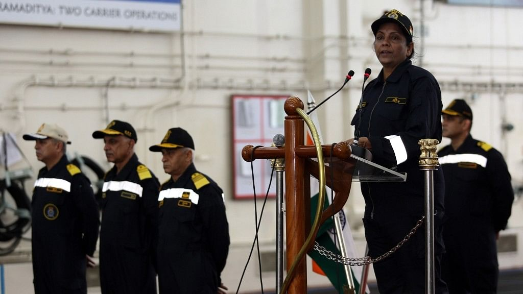 Defence Minister Nirmala Sitharaman addresses the Western Fleet on board INS Vikramaditya during the operational manoeuvres of the Western Fleet ships, conducted by the Indian Navy in Goa on Jan 9, 2018.