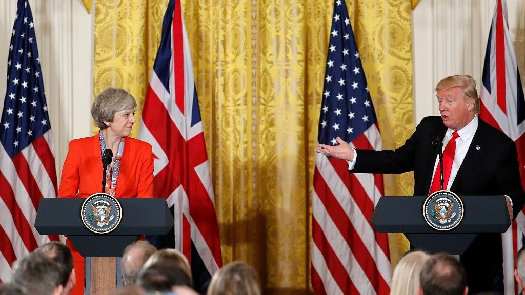 US President Donald Trump with UK Prime Minister Theresa May.