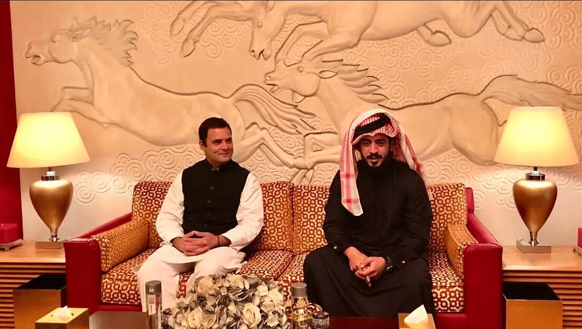Rahul Gandhi with a member of the Gulf nation's royal family Shaikh Khalid bin Hamad Al Khalifa.