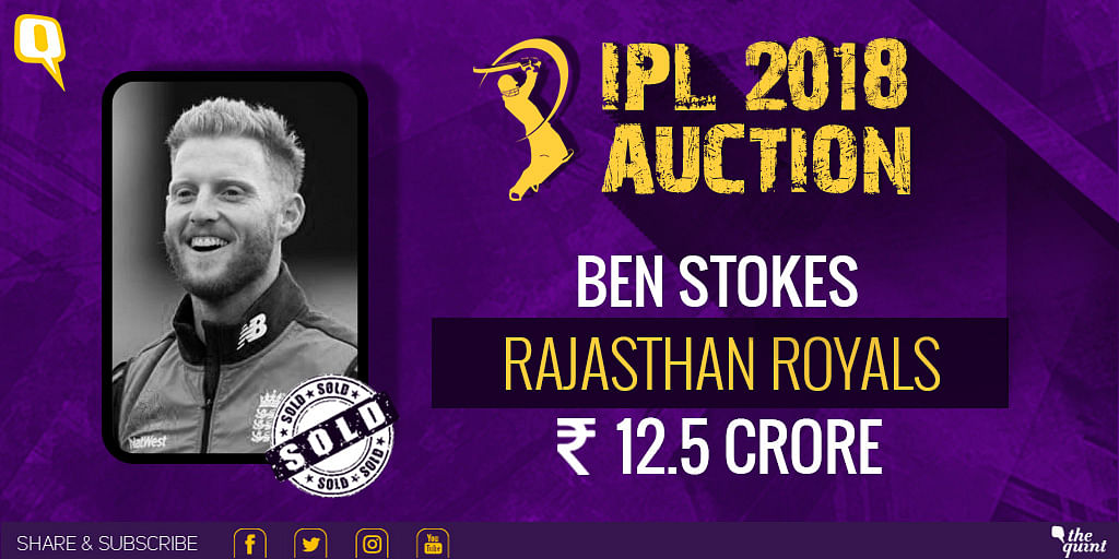 Ben Stokes was sold to Rajasthan Royals for Rs 12.5 crore.
