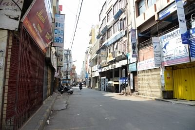 Bengaluru: Shops remain closed during a 12-hour shutdown in Karnataka called by several Kannada organisations and regional outfits for the Mahadayi river water from Goa; in Bengaluru on Jan 25, 2018. Karnataka has been asking Goa since 2001 to release 7.6 tmcft (thousand million cubic feet) of the river water to meet the drinking needs of its people in the drought-prone four districts and irrigating their farmlands. The state plans to build two canals at Kalasa and Banduri, which are the tributa