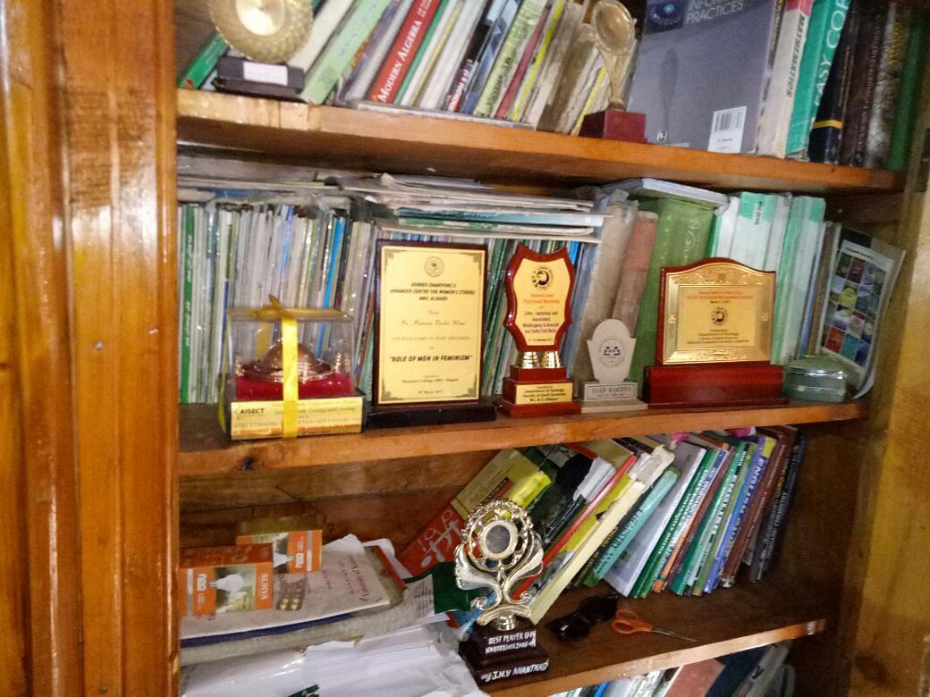 Trophies won by Mannan Wani adorn a cabinet at his house in Kupwara.