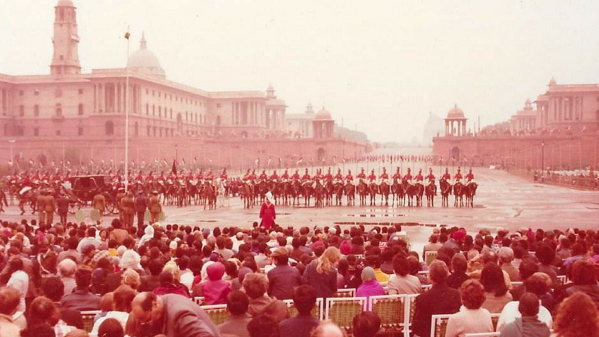 A snapshot of the Beating Retreat at Vijay Chowk, with Raisina Hills in the background. It was a foggy and cloudy day.