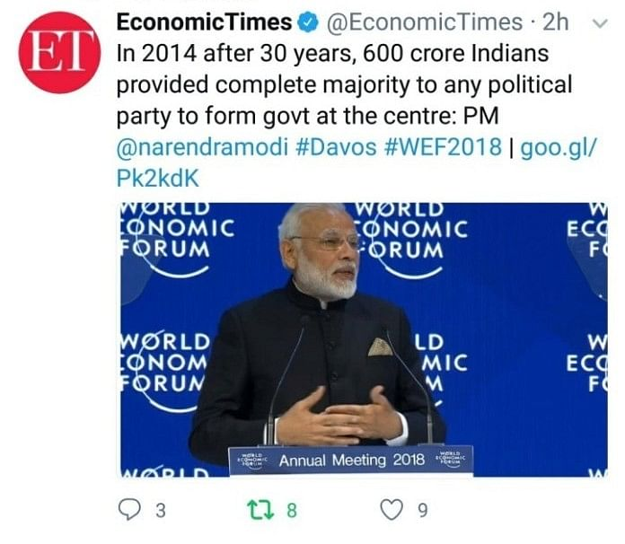 Modi's Speech on MEA Website Is Not What He Said at Davos