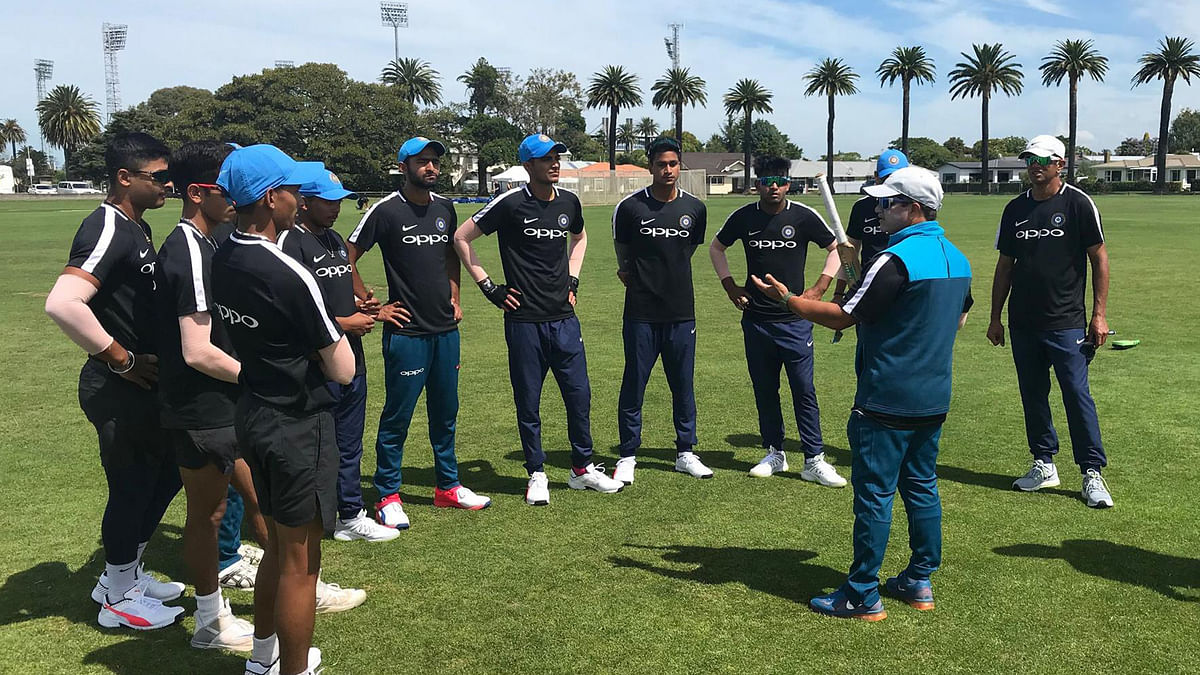 The Indian team under coach Rahul Dravid (extreme right) will be eyeing their fourth U-19 title.