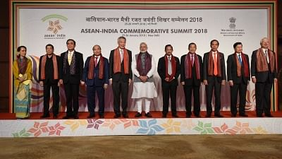 New Delhi: Prime Minister Narendra Modi with the ASEAN Heads of State/Governments during the ASEAN-INDIA Commemorative Summit in New Delhi on Jan 25, 2018. (Photo: IANS/PIB)