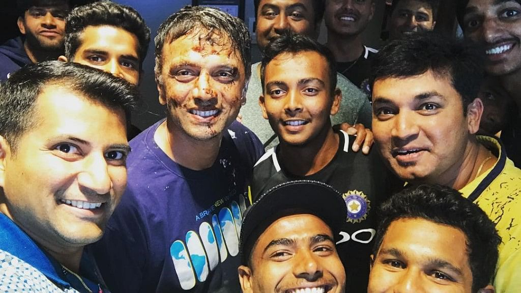 Rahul Dravid celebrating his birthday with the Indian under-19 players.