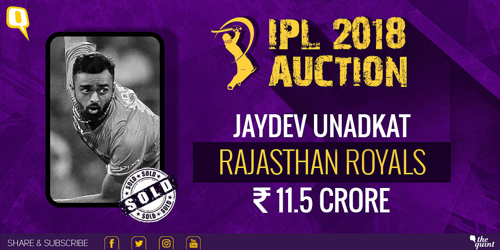 Jaydev Unadkat will play for Rajasthan Royals in IPL 2018.