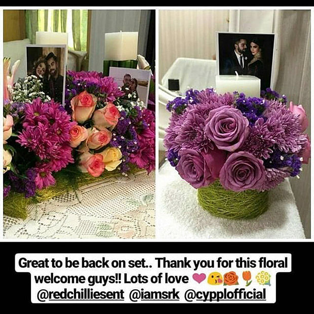 Anushka Sharma wrote about her floral welcome on Instagram.