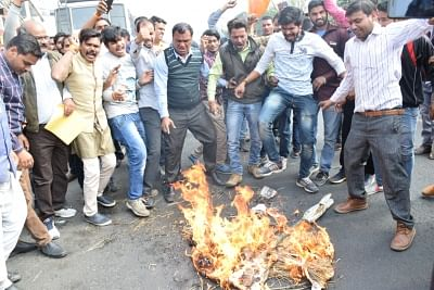 Bhopal: Members of Rajput Samaj stage a protest ahead of the release of Sanjay Leela Bhansali