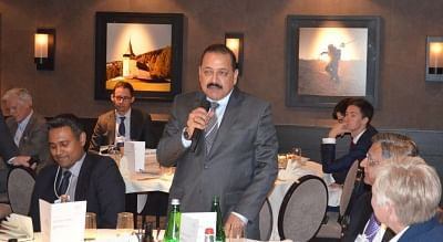"""Davos: Union MoS Development of North Eastern Region, Prime Minister's Office, Personnel, Public Grievances and Pensions, Atomic Energy and Space Jitendra Singh addresses at """"Luncheon Round-table"""" meet on the topic """"Sustainable Production through Fourth Industrial Revolution Innovationsâ€Â� at the World Economic Forum (WEF) in Davos, Switzerland on Jan 24, 2018. (Photo: IANS/PIB)"""