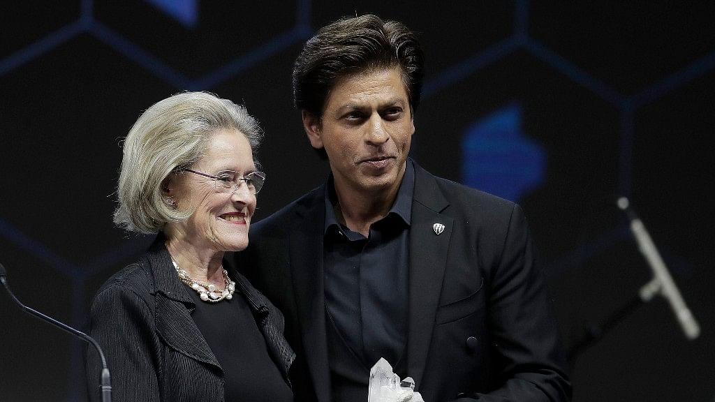 Shah Rukh Khan receiving the Crystal Award in Davos on Monday, 22 January.