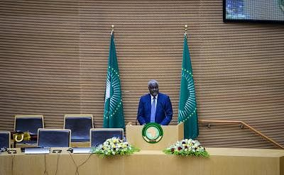 ADDIS ABABA, Jan. 25, 2018 (Xinhua) -- African Union Chairperson Moussa Faki Mahamat speaks during the opening session of the 32nd Ordinary Session of the Executive Council of the African Union (AU) in Addis Ababa, Ethiopia, Jan. 25, 2018. Moussa Faki Mahamat said on Thursday African leaders and citizens are still in shock at vulgar comments about the continent attributed to U.S. President Donald Trump. (Xinhua/Michael Tewelde/IANS)