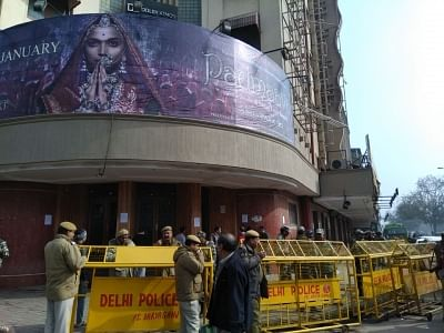 """New Delhi: Security beefed up outside a Delhi cinema hall in the wake of ongoing protests against the release of film """"Padmaavat"""", on Jan 25, 2018. (Photo: IANS)"""