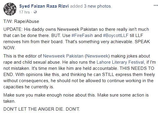 'Child Abuse Leads to Great Art': Newsweek Pak Editor Faces Fury