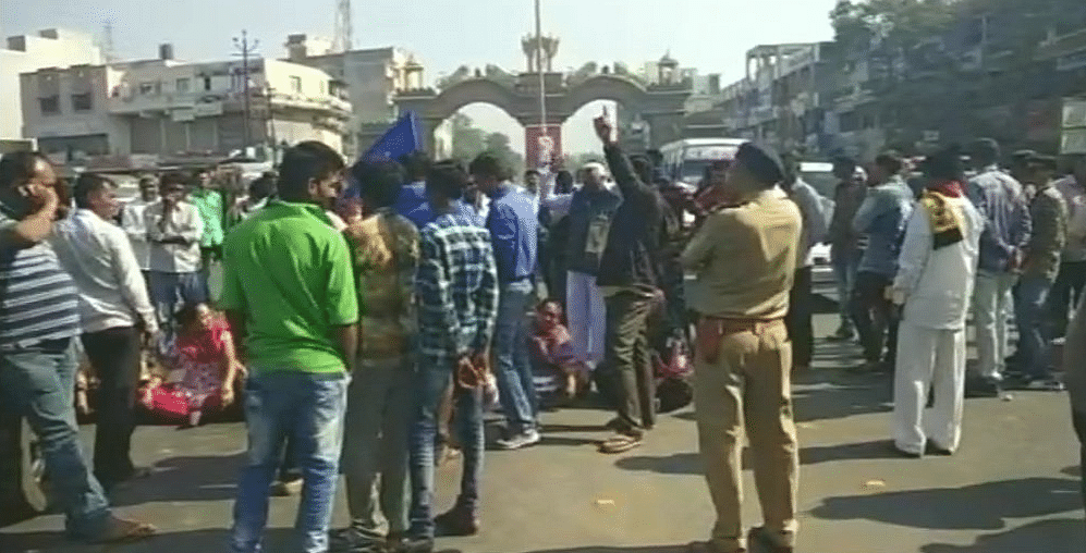 Protesters block Madhuram Bypass road in Junagadh