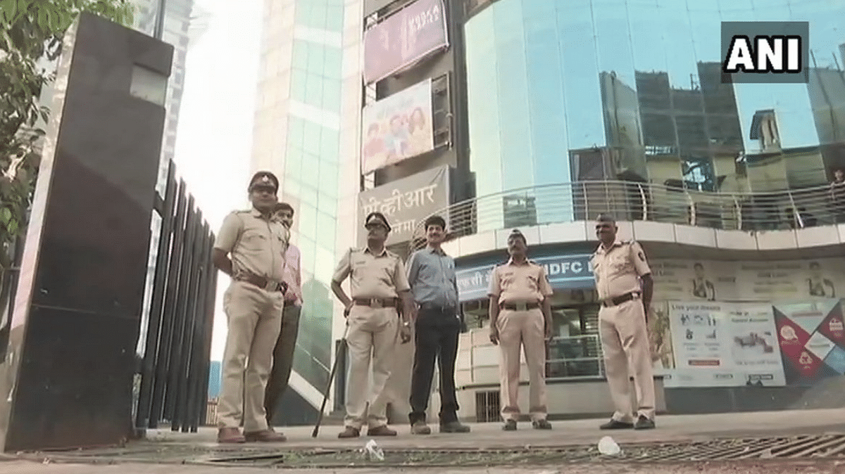Visuals of security outside PVR Cinemas Sion.