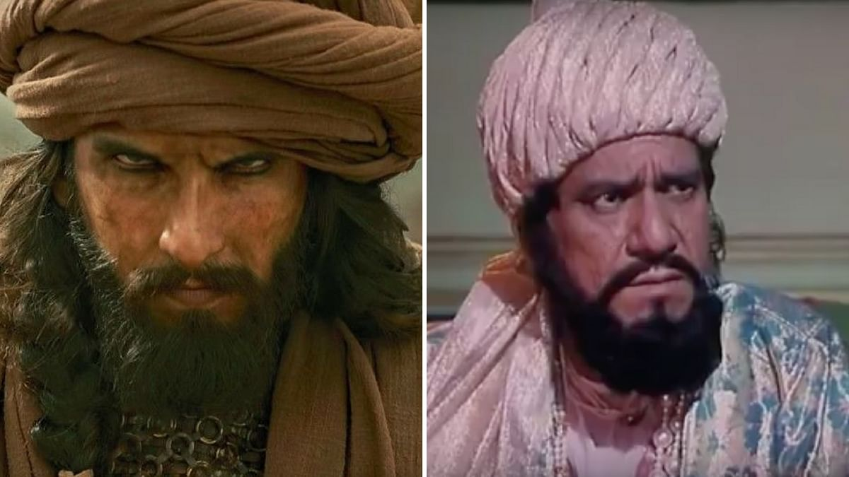 Ranveer Singh as Khilji in <i>Padmaavat </i>and Om Puri as Khilji <i>in Bharat Ek Khoj.</i>