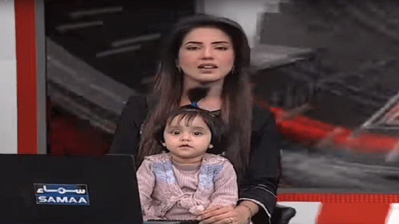 Samaa TV anchor Kiran Naz with her daughter on the show,