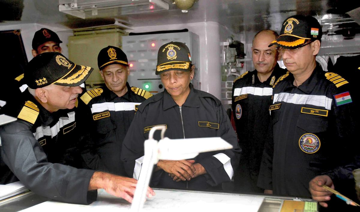 Defence Minister Nirmala Sitharaman being briefed about naval operations onboard INS Vikramaditya.