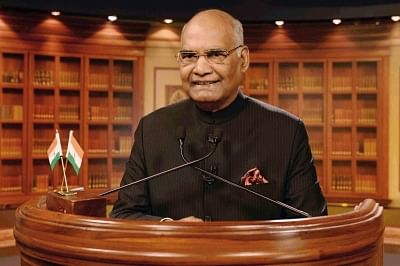 New Delhi: President Ram Nath Kovind addresses the nation on the eve of the 69th Republic Day, in New Delhi on Jan 25, 2018. (Photo: IANS/RB)