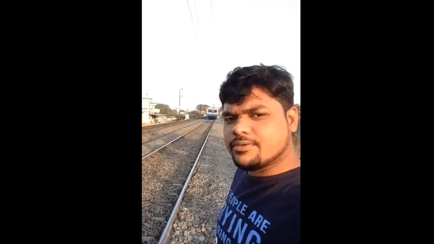 According to initial reports, this man from Hyderabad was  hit by a train while taking a selfie video.
