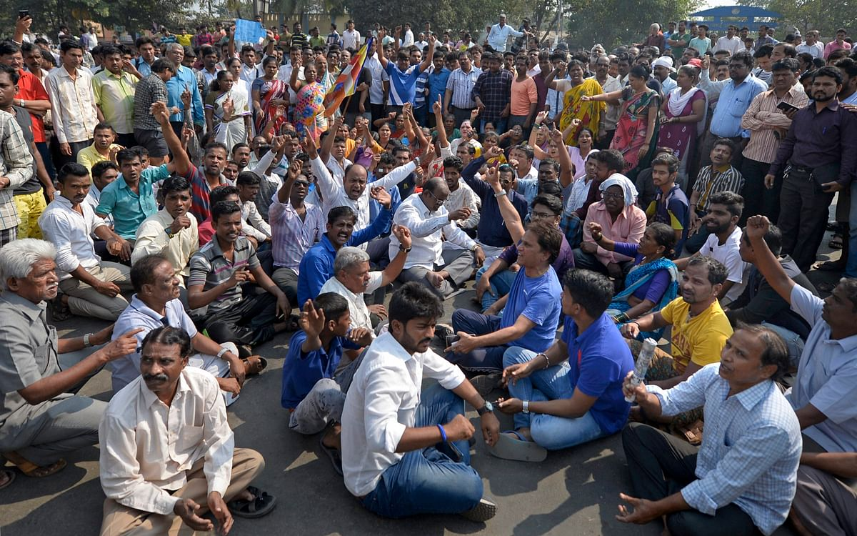 Dalits stage a protest against the atrocities against them on 1 January.