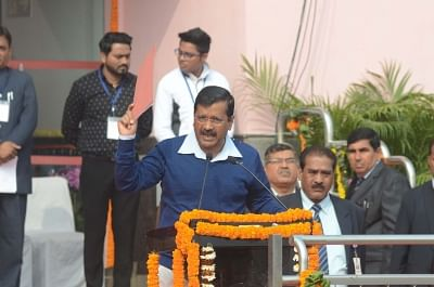 New Delhi: Delhi Chief Minister Arvind Kejriwal addresses during Republic day 2018 celebrations in New Delhi on Jan 25, 2018. Republic Day is marked by the Delhi government a day before it is observed nationwide.(Photo: IANS)