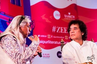 Jaipur: Tabla maestro Zakir Hussain and Jaipur Literature Festival Producer Sanjoy Roy during the festival Jaipur Literature Festival on Jan 25, 2018. (Photo: IANS)