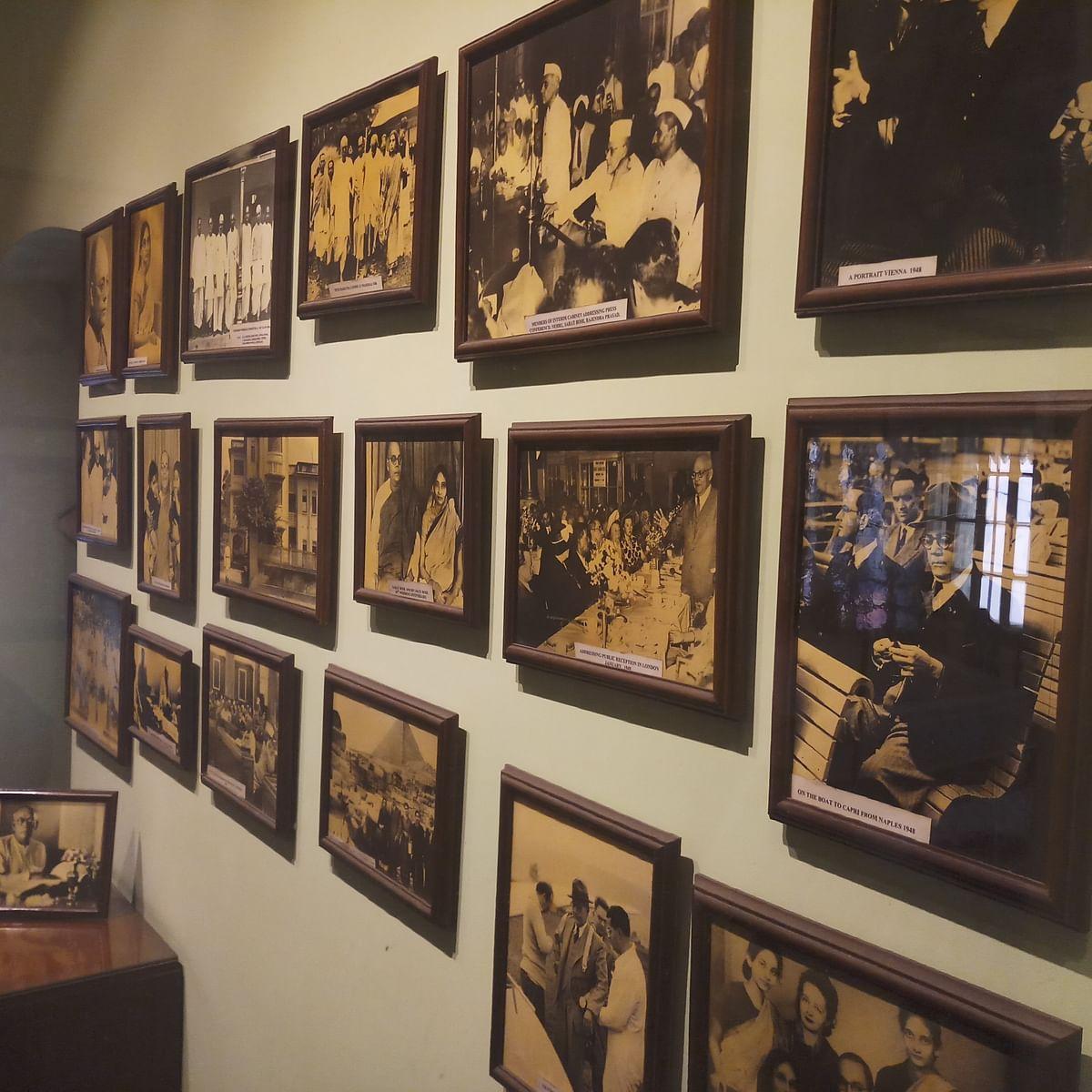 A wall of portraits at Netaji Bhawan.