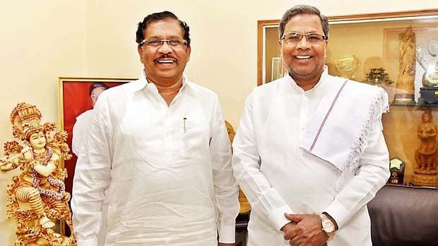G Parameshwara (left) has been given the task of leading the party, along with Siddaramaiah, in the upcoming elections.