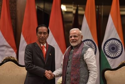New Delhi: Prime Minister Narendra Modi with Prime Minister of Indonesia Joko Widodo during a meeting in New Delhi on Jan 25, 2018. (Photo: IANS/MEA)