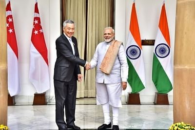 New Delhi: Prime Minister Narendra Modi meets Singaporean Prime Minister Lee Hsien Loong at Hyderabad House in New Delhi on Jan 25, 2018. (Photo: IANS/MEA)