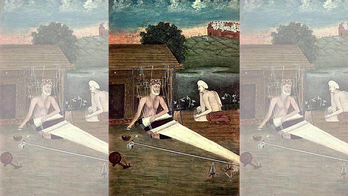 An 1825 CE painting depicting Bhagat Kabir weaving.