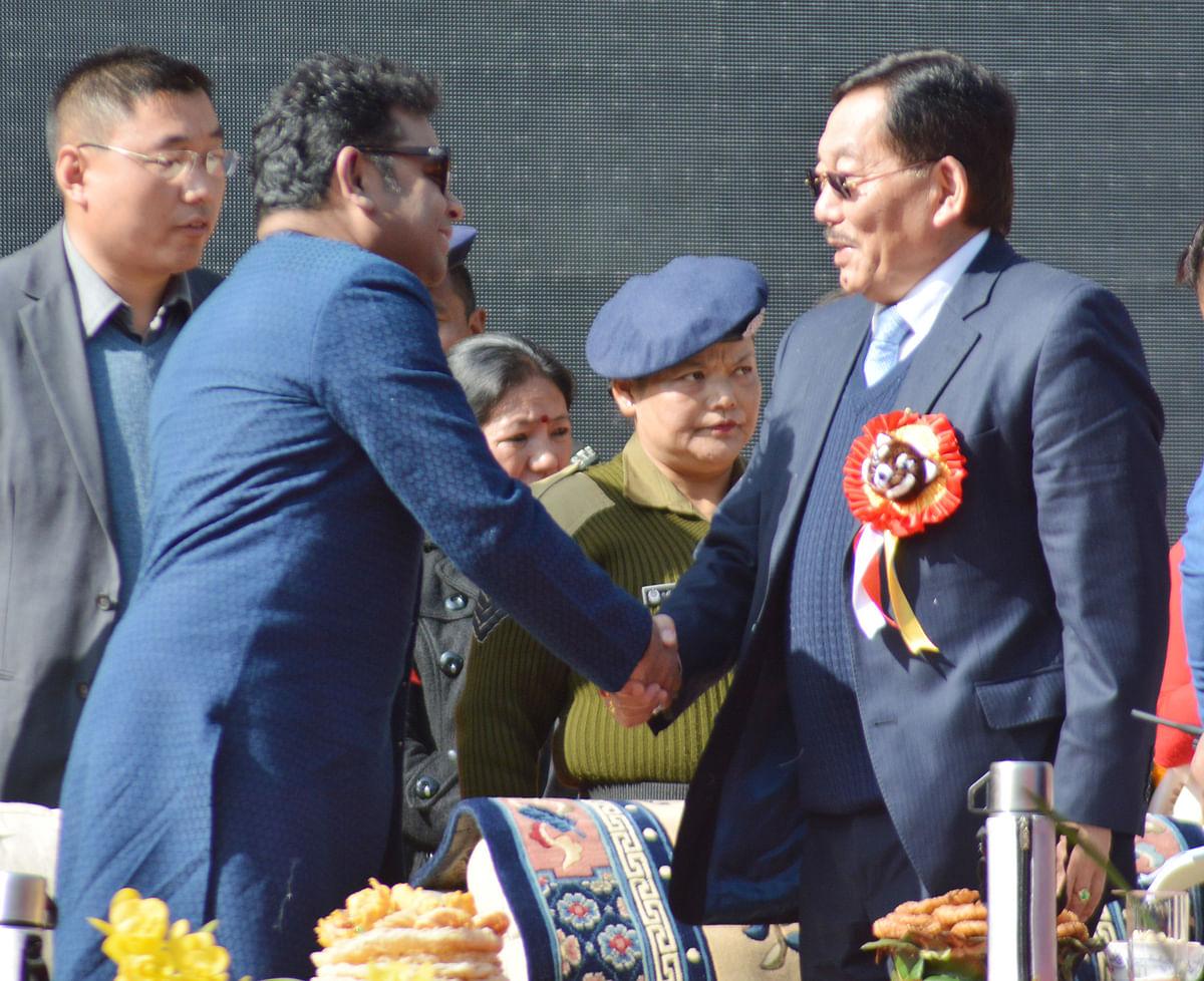 CM Pawan Kumar Chamling greets Rahman.